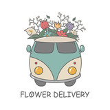 Modern line style floral logo isolated on white background. Linear logotype with retro travel van full of flowers. Business identity for boutique, organic cosmetics or flower shop.