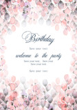 Watercolor background with floral elements. Can be used for  mothers day, valentines day, birthday cards, wedding invitations.  - 143001607