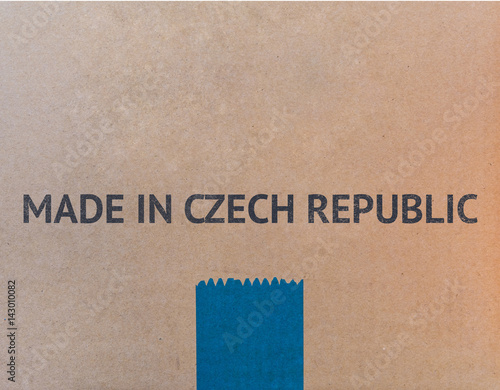 Poster MADE IN CZECH REPUBLIC written on brown cardboard box with copy-space for your text