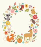 Forest background with animals