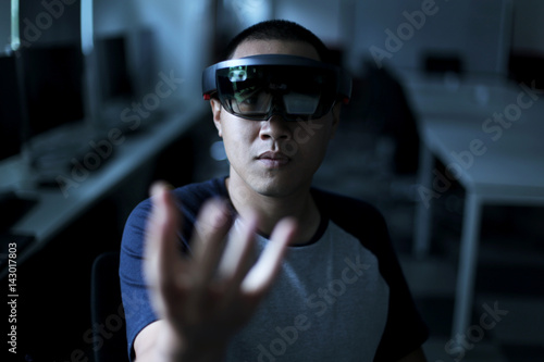 Poster Trying Virtual Reality with Microsoft HoloLens headset