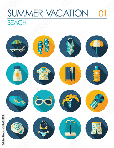 Beach flat icon set. Summer. Vacation