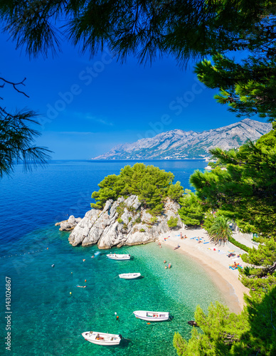 Podrace beach in Brela through pine trees - 143026867