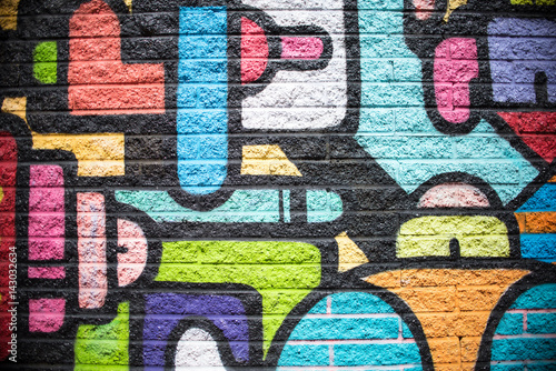 Foto Spatwand Graffiti Multi Color Brick Wall Background