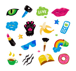 Fashion stickers with lips, cat paw, cat eye and other elements