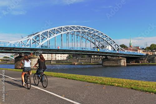 Deurstickers Krakau Krakau, Blaue Brücke
