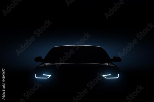 Car blue headlights, shape concept art dark - 143041677