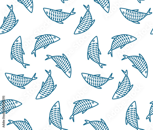 Seamless pattern with fishes. Vector abstract background.