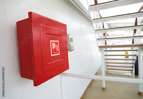 Fire hose cabinet on a ship. Poster
