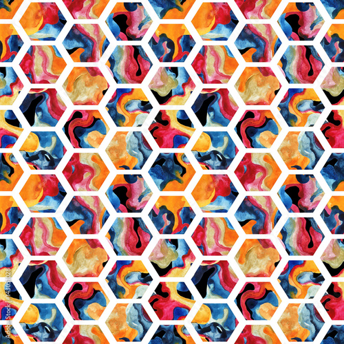 Fototapeta Watercolor hexagon seamless pattern
