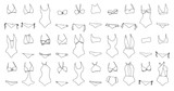 Hand drawn vector clothing set. 30 models of trendy swimwear.