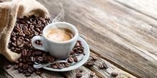 "Постер, картина, фотообои ""Espresso Coffee Cup With Beans On Vintage Table """
