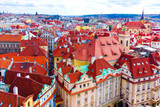Aerial view over the old town of Prague, Czech Republic from Astronomical clock tower