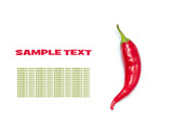 Red hot pepper isolated on white (with sample text)
