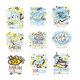 Sea club, marine club set for label design. Journey, summer holidays, beach party, cruises for use in the tourist industry colorful vector Illustrations