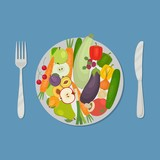 Healthy food. Plate with vegetables and fruits on a blue background. There are carrots, cucumber, tomato, eggplant, zucchini, apple, pear, cherries and other products in the picture. Vector image. - 143078640