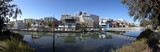 Fototapeta San Francisco cityscape-lagoon, houseboats, skyline and blue sky.