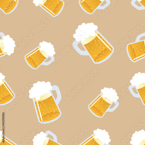 Beer seamless pattern. Repeating hand-drawing colorful glasses of beer. Vector.