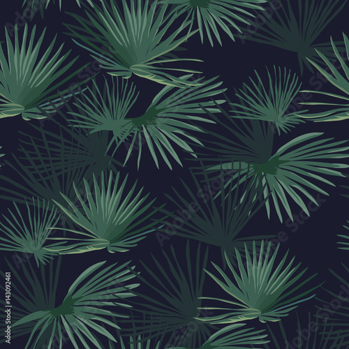 Exotic tropical forest. Seamless pattern. Vector background. - 143092461
