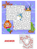 Help Mermaid Find Path To Pearl Labyrinth Maze Game For Kids Wall Sticker