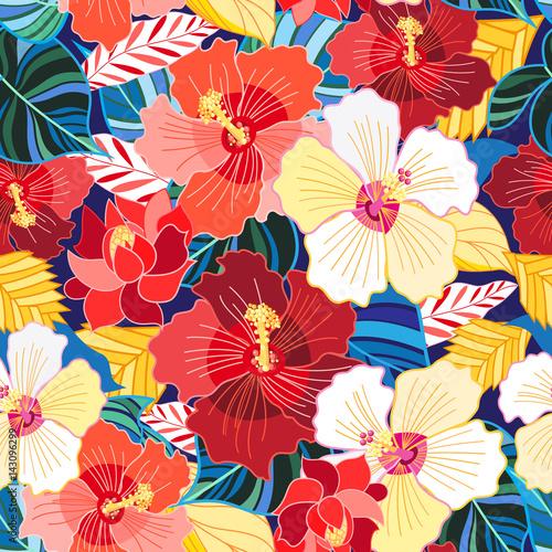 Obraz na Szkle Seamless pattern of hibiscuses