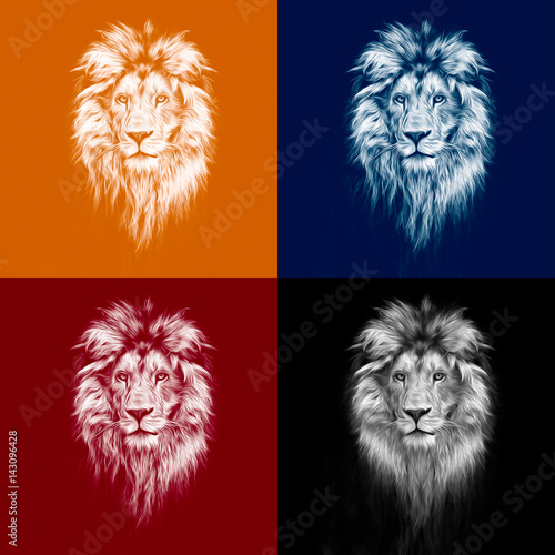 Poster Portrait of a Beautiful lion, lion in the dark, oil paints, soft lines