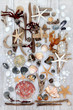 Abstract Beach Art. With driftwood, seashells, rocks, pearls and seaweed on distressed white wood background.