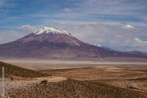 Poster Volcan Ollague, It is a volcanic mountain of Chile of 6145 msnm, Is an active volcano located on the border of Bolivia and Chile, located in the Atacama Desert (Region of Antofagasta)
