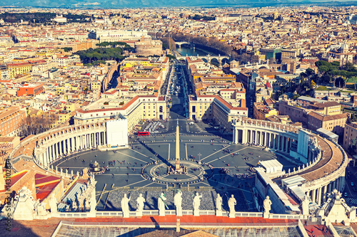 Poster Saint Peter's Square in Vatican and aerial view of Rome
