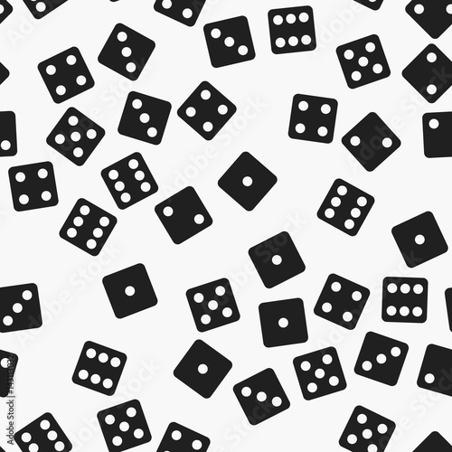 Black and white dice pattern. Seamless vector