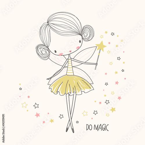 Cute little fairy. Nursery vector illustration