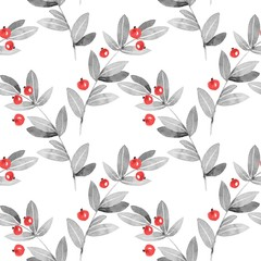 Floral seamless pattern. Watercolor leaves