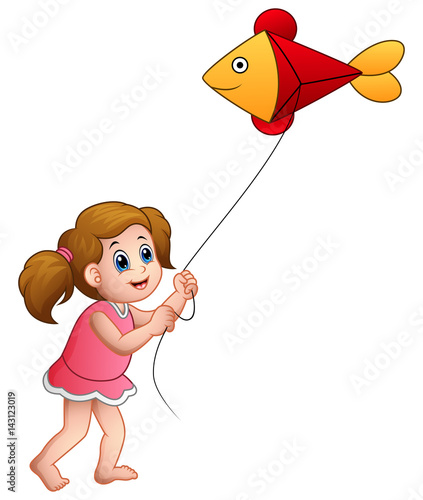 Cartoon girl playing kite shaped of fish © dreamblack46