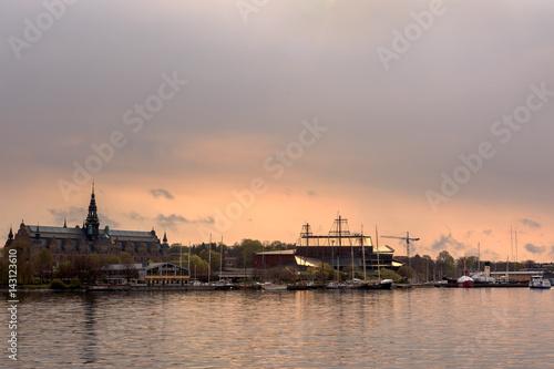 Fotobehang Stockholm Island of Djurgarden in central Stockholm, Sweden during early morning sunrise