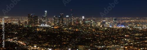 Aluminium Palm boom Los Angeles, California, USA downtown skyline at night