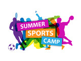 SUMMER SPORTS CAMP Banner with sports silhouettes