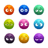 Funny cartoon colorful shaggy balls with eyes. - 143137672