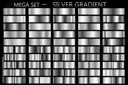 Set srebni gradienty. Kruszcowa kwadrat kolekcja, Wektorowa ilustracja.