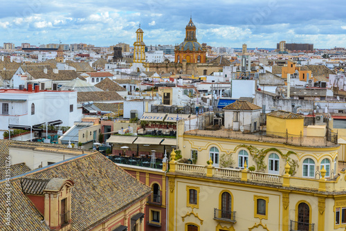 Panoramic view of Seville from the Cathedral, Andalusia, Spain