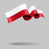 Polish pin wavy flag. Vector illustration. - 143152636