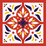 Red, blue, yellow and white tile vector. Italian majolica or portugal tiles pattern with oriental ornaments. - 143154295