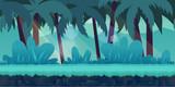 cartoon jungle landscape, vector unending background