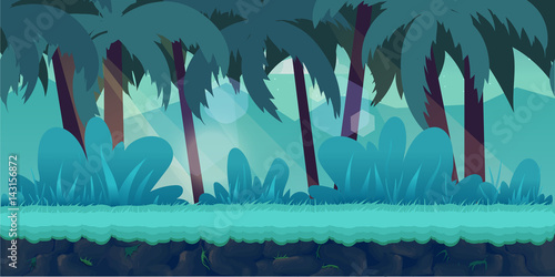 Poster Groene koraal cartoon jungle landscape, vector unending background
