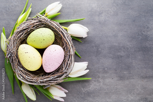 Easter eggs in the nest on a gray background. Spring greeting card.