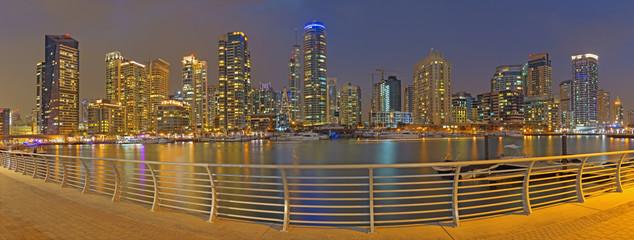 DUBAI, UAE - MARCH 26, 2017: The evening panorama of Marina.