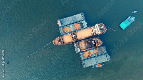 top view of container ship in vessel logistic