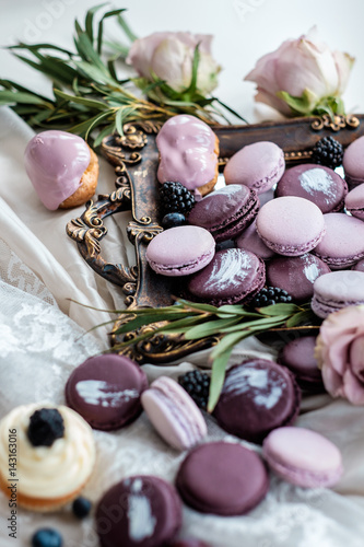 Spoed canvasdoek 2cm dik Macarons Traditional French desserts on a table in interior
