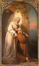 "Постер, картина, фотообои ""VIENNA, AUSTRIA - DECEMBER 19, 2016: The painting of scene comeback of Prodigal son in church kirche St. Laurenz (Schottenfelder Kirche) by Carl Johann Nepomuk Hemerlein (1807 - 1884)."""