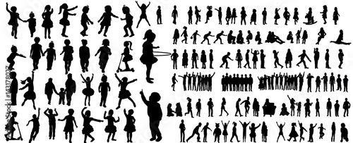 Collection of children silhouettes boys and girls set, vector illustration - 143178027