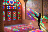 OCTOBER 23, 2016 - Shiraz, the Islamic Republic of Iran : The morning sunlight shining through the stained-glass creates the great array of colors projected into the prayer halls.